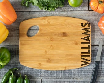Personalized Cutting Board Engraved Chopping Board~Anniversary Gift, Housewarming, Engagement, Wedding Gift- Side Name Handle