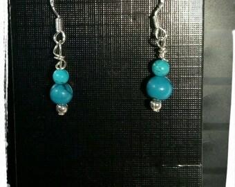 Turquoise bead 925 silver drop earrings