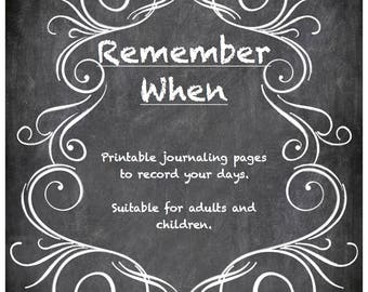 Remember When -- Printable Journaling Pages with Prompts