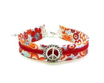 Orange flower liberty bracelet SEVENTIES red suede Peace & Love ♦ fashion Bracelet