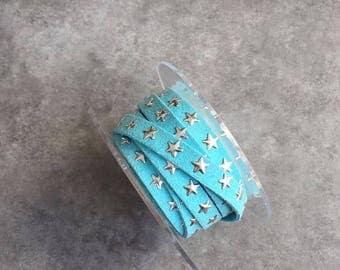 8mm rhinestone stars Turquoise suede