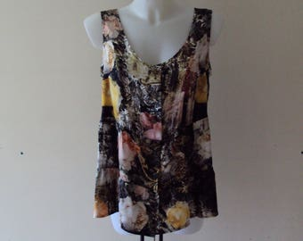 Lubilines Blouse silk floral sleeveless unique shabby! T 46/48