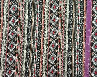Knit fabric, tribal print stretch fabric, jersey knit fabric, jersey fabric, Vertical tribal knit fabric