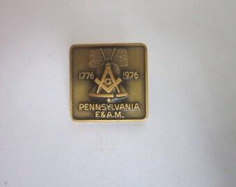 Vintage Masonic PA F & A M Bronze Pinback