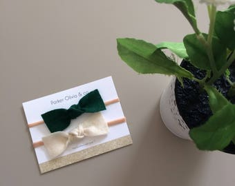 Felt bows on one size fits most nylon headband - forest green and cream