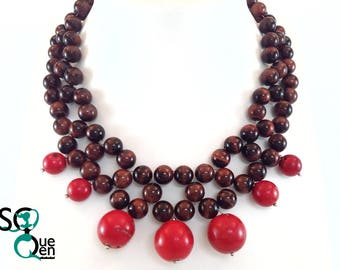 Natural gemstone necklace - Bull Œil and coral