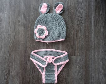 Gray Bunny- Newborn Photography Outfit