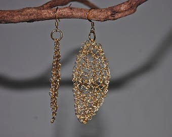 lace wire crochet leaf earrings