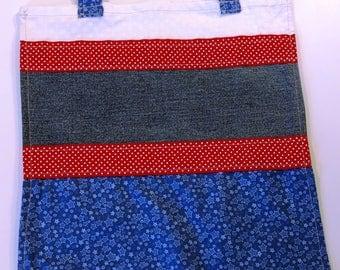 Red White Blue Stripes Tote Bag Purse