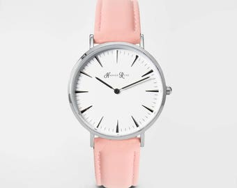Ladies Watch, Women Leather bracelet, minimalist, gift for her, cheap leather watch, Christmas Watch, Pink Leather (Silver/White)