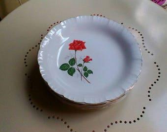 """6 Soup Plates - Vintage French Digoin Sarreguemines """"Sevigne"""" plates"""