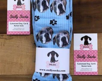 Blue Background Custom Dog Socks, Dog Face Socks, Design your own Dog Socks