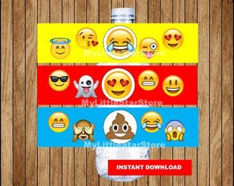 Emoji bottle labels, Printable Emoji water bottle labels, Emoji party water labels Instant download