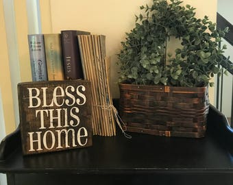 Bless This Home wood block