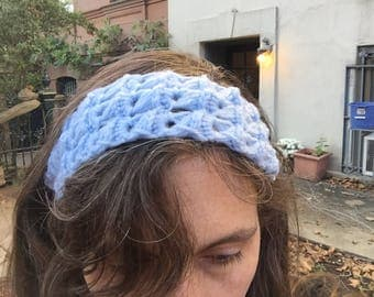 Light Blue Headband  Crochet Broomstick Lace