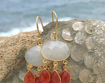 Earrings plated Lelia gold Moonstone and carnelian stone