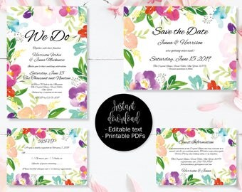 Wedding Invitation Template Set, Save the Date, Invite, RSVP, Guest Information, Editable Printable Wedding Templates, Border 1 SETA-1