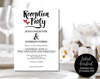 Wedding Reception Party Invitation Template, Wedding Party Invite, Red Love Hearts, Wedding Invite Download, Calligraphy Wedding Invitation