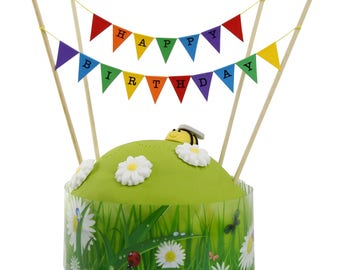 Cake Topper 'HAPPY BIRTHDAY' Small Multi-coloured Flag Bunting