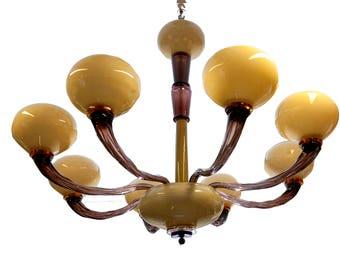 murano glass chandelier/glass chandelier chandelier vintage modernism//Amethyst/triplex/murano glass