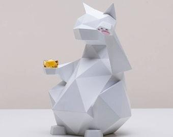 Maneki-Neko White, Lucky Cat, Hand sculpted, Cat Figure, Home decor, House warming gift