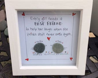 Pebble Picture,Best Friends,Handmade,Gift,Personalised,Unique.