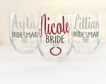 Set of 9 Bridal Party Wine Glasses | Personalized Bridesmaid Wine Glasses | Custom Wine Glass | Bridal Party Gifts | Bridesmaid Gift