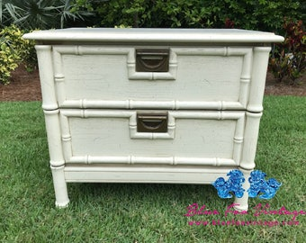 Vintage Faux Bamboo Nightstand / Chinoiserie / Hollywood Regency / Beach Chic