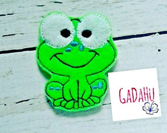 Cute Frog feltie. Embroidery Design 4x4 hoop Instant Download. Felties Froggy