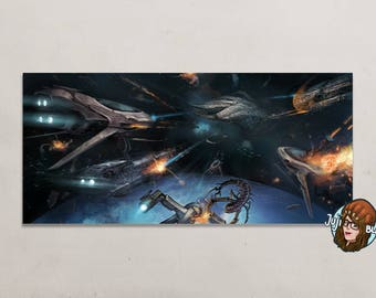 Map - print - 22 x 10, 5 cm - space battle - you can't go home again