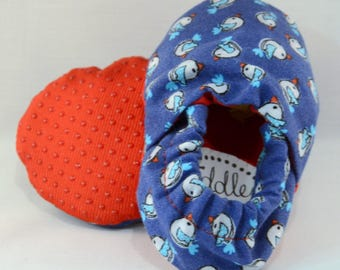"4"" Soft-Soled Baby Shoes - Birds on Blue  - Adjustable Ankles - Non-Slip Soles"