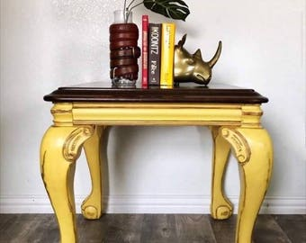 Lion claw foot Solid Wood Side Table