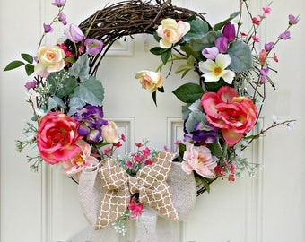 Elegant grapevine wreath w roses, colorful grapevine wreath, bright grapevine wreath,  Rose Grapevine wreath, Summer, spring, mothers day