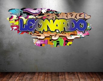 Ordinaire Personalized Name Full Color Graffiti Wall Decals Cracked 3d Wall Sticker  Mural Decal Graphic Wall Art