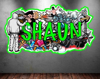 Personalized Name Full Color Graffiti Wall Decals Cracked 3d Sticker Mural Decal Graphic Art