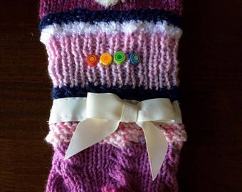 hand knitted twidlle muff for people with Alzheimer , Dementia, Autism
