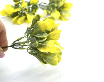 Artificial greenery Yellow greenery Artificial floral Floral decor Plastic leaves  Faux floral Cake topper Wedding greenery Home decor DIY