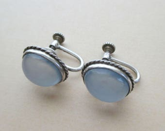 Sterling Silver Chalcedony Earrings - Luminous - Vintage