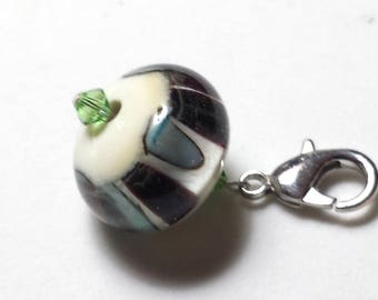 Handcrafted Lampwork Glass Bead Garment Zipper Pull #12