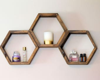 ON SALE NOW- Honeycomb Shelf, Hexagon Shelf- **black cherry**