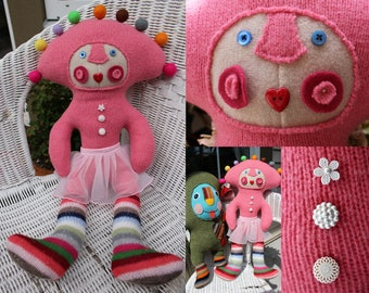 Megaleena - wool handmade stuffed toy from recycled sweater