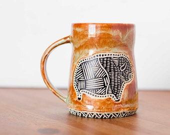 Handmade American Buffalo Bison Carved Ceramic Coffee Mug