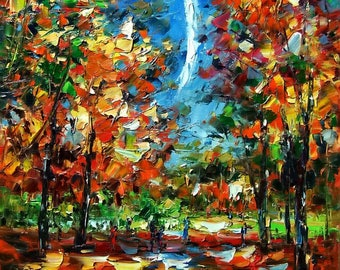 "Autumn Forest Sky Original Oil Painting on Canvas Size 30""X24"" by 111artstudio"