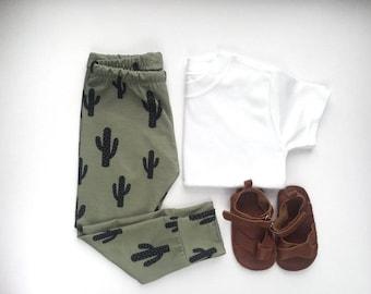 Baby Leggings, Toddler Leggings, Cactus Print Leggings, Khaki Leggings, Unisex Leggings, Baby Boy Leggings, Baby Girl Leggings, new born