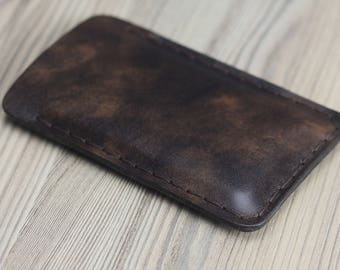 Iphone 6s/6/7 sleeve genuine leather handmade,color brown,case,cover for iphone 6s,iphone 6,iphone 7.
