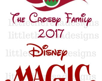 Disney Cruise Line Transfer in Red with Ornament,Digital Transfer,Digital Iron On,Diy