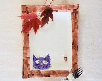 Cat & Window Ladybug plate