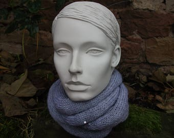 woman gray wool and sequins wrapped 3 times around the neck snood