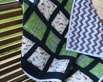 Baby Quilt Handmade - Navy and Green baby quilt, baby quilt, boy quilt, nursery bedding, baby bedding, baby shower gift, baby quilt for boy