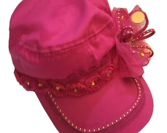 Cap - Bright Pink with embellishments